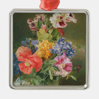 Roses, Poppy and Pelargonia Christmas Ornament
