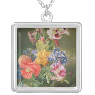 Roses, Poppy and Pelargonia Silver Plated Necklace