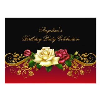 Roses Red Black Gold Birthday Party 4.5x6.25 Paper Invitation Card