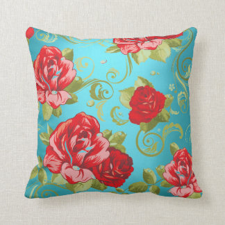 Roses Red Turquoise Green Magic Garden Flowers Throw Pillow