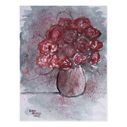 ROSES red watercolor art flower painting Post Cards