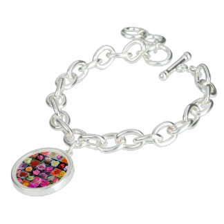 Roses, Round Charm Bracelet, Silver Plated