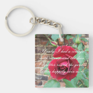 Roses round the door poem Double-Sided square acrylic key ring