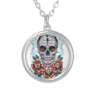 Roses & Skull Silver Plated Round Necklace