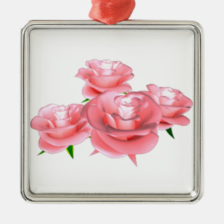 roses square metal christmas ornament