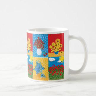 roses, Sunflowers, Irises, Big Poppy field, ros... Basic White Mug