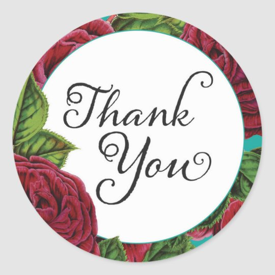 Roses Thank You Stickers- Round Classic Round Sticker