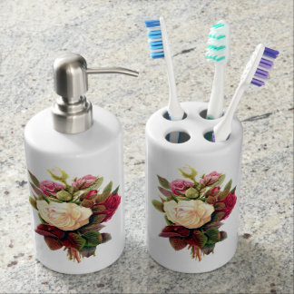 Roses Toothbrush Holder and Soap Dispenser Set