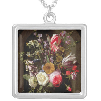 Roses, Tulips and other Flowers Silver Plated Necklace