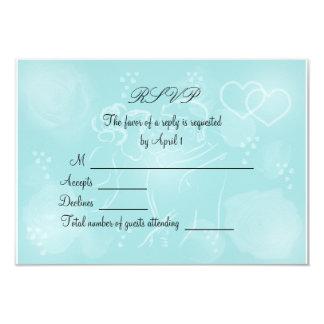 Roses Turquoise RSVP Card 9 Cm X 13 Cm Invitation Card