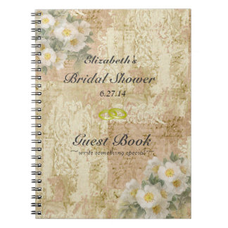 Roses-Vintage Bridal Shower Guest Book- Notebook
