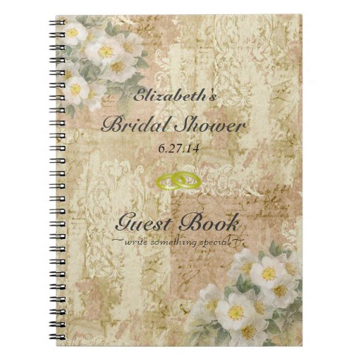 Roses-Vintage Bridal Shower Guest Book- Spiral Notebook
