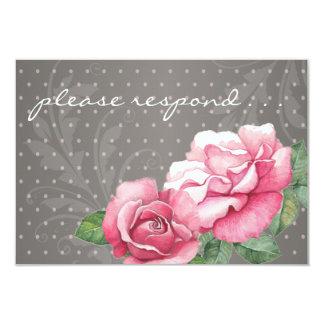 Roses: Vintage Charm Painted Pink Roses RSVP Card 9 Cm X 13 Cm Invitation Card