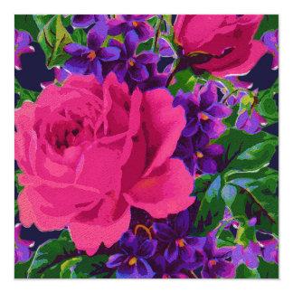 Roses & Violets 13 Cm X 13 Cm Square Invitation Card