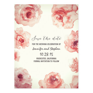 roses watercolor painted floral save the date postcard