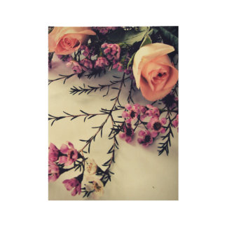 Roses & Waxflower Wood Poster