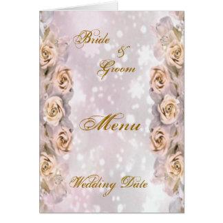 Roses Wedding Menu Shower Card