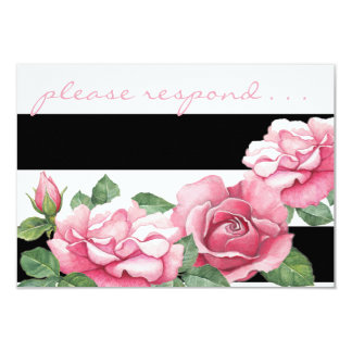 Roses: WhispersWatercolor Pink Roses RSVP Card 9 Cm X 13 Cm Invitation Card