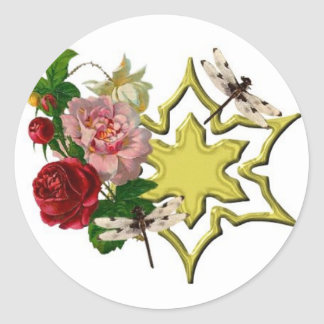 Roses with Dragonfly Classic Round Sticker