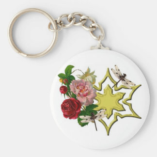 Roses with Dragonfly Keychain