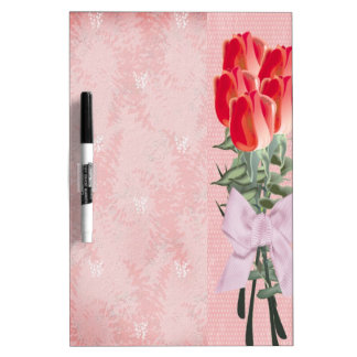 Roses With Pink Bow Dry Erase Boards
