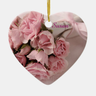 Roses with pink ribbon Double-Sided heart ceramic christmas ornament