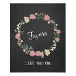 Roses Wreath Wedding Favours Sign Poster Print