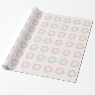 Roses Wreath Wrapping Paper Shabby Chic style