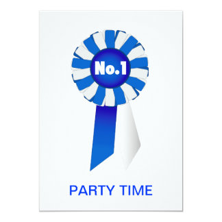 Rosette in Blue and White No. 1 Party Time 13 Cm X 18 Cm Invitation Card