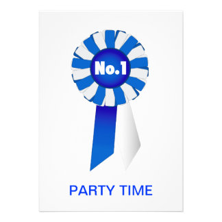 Rosette in Blue and White No 1 Party Time Invite