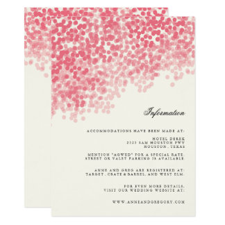 Rosey Light Shower Wedding Information Insert Card