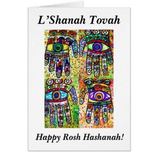 Rosh Hashanah - Batik Judaica Hamsas Card