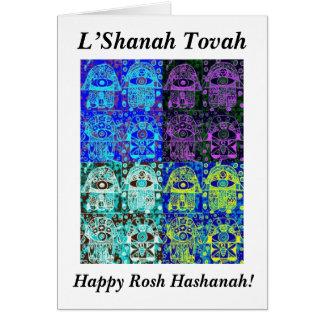 Rosh Hashanah: Black & Blue Hamsa Vintage Tapastry Card