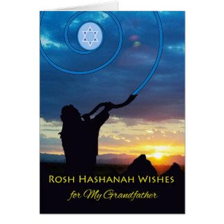 Rosh Hashanah for Grandfather, Shofar Horn and Sky Greeting Card