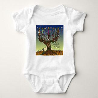 Rosh Hashanah L'Shanah Tovah Tree Of Life Menorah Baby Bodysuit