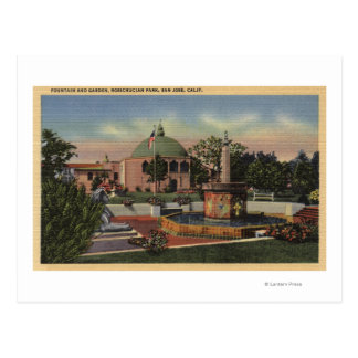 Rosicrucian Park, Fountain and Garden View Postcard
