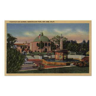 Rosicrucian Park, Fountain and Garden View Poster