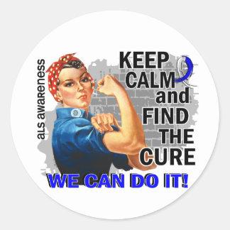 Rosie Keep Calm ALS.png Round Sticker