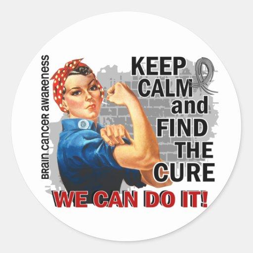 Rosie Keep Calm Brain Cancer.png Round Stickers