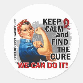 Rosie Keep Calm Heart Disease.png Round Sticker