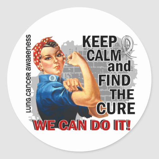 Rosie Keep Calm Lung Cancer.png Round Stickers