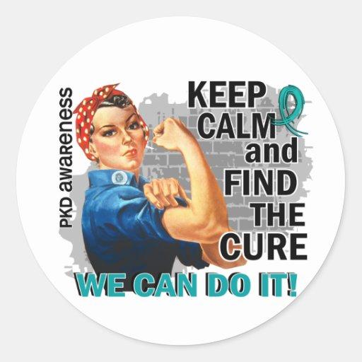 Rosie Keep Calm PKD.png Round Stickers
