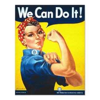 "Rosie Riveter Vintage Propaganda 4.25"" X 5.5"" Invitation Card"