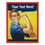 Rosie Riveter with Customise Text Poster