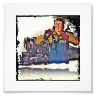 Rosie Riveter Works on the Rail Road WWII Art Photo