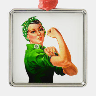 Rosie The Riveter - Green Military Square Metal Christmas Ornament