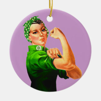 Rosie The Riveter - Green Military Round Ceramic Decoration
