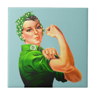 Rosie The Riveter - Green Military Tiles