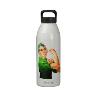 Rosie The Riveter - Green Military Water Bottles