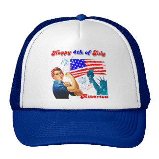 Rosie The Riveter Happy 4th of July Hats